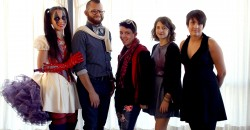 (Left to Right) Pamela Ptak (Project Runway- Season 7), Geovanny Colon of Vinn Alexander Collins, Justin Orlick, Ana Raiola, Joya Widney